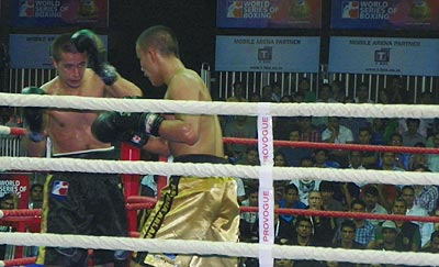 Miras Bairkhanov of Astana Arlans' get better of Mumbai Fighters' Sanjin Pol Vrgoc
