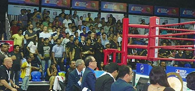 Spectators on their feet during a WSB bout