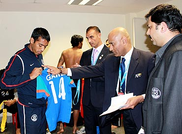 Mahesh Gawli gets his jersey checked by the match commissioner during SAFF championship final