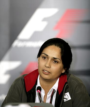 Monisha Kaltenborn at a F1 press conference