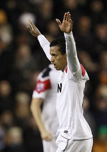 Manchester United's Nani celebrates his goal against Wolverhampton Wanderers