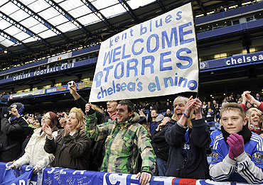 Chelsea fans display a welcome message for Torres