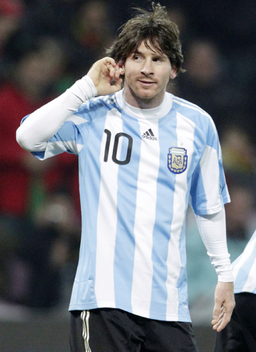 Argentina's Lionel Messi celebrates his goal during their international friendly soccer match against Portugal