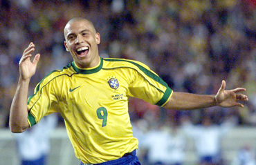 Ronaldo of Brazil celebrates his goal in a World Cup match