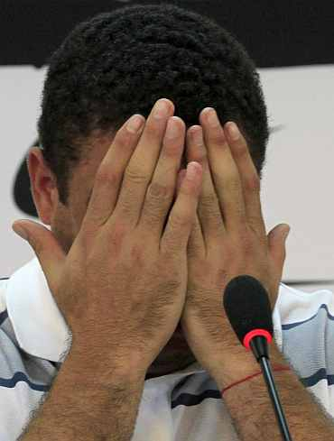 Ronaldo weeps during the press conference