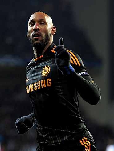 Chelsea's Nicolas Anelka celebrates after scoring against FC Copenhagen