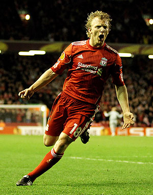 Dirk Kuyt of Liverpool celebrates after scoring against Sparta Prague during their Europa League match at Anfield on Thursday