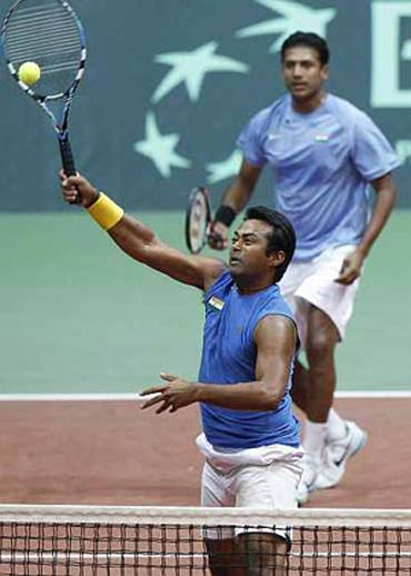 Paes and Bhupathi in action