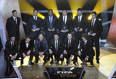 FIFA FIFPro World XI award 2010 winners at the FIFA Ballon d'Or awards ceremony