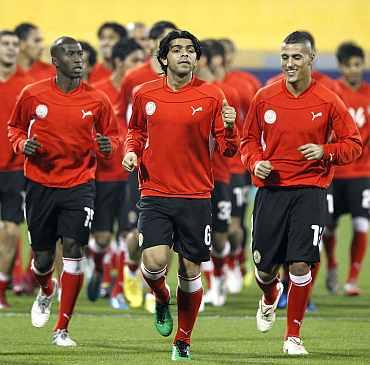 Bahrain players train in Doha