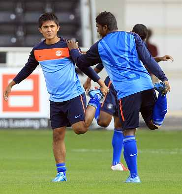 Sunil Chhetri and NP Pradeep during a training session