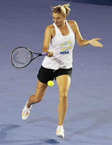 Maria Sharapova of Russia goes through the paces during a training session at Melbourne Park