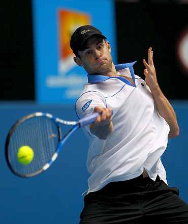 Andy Roddick in action at the Australian Open