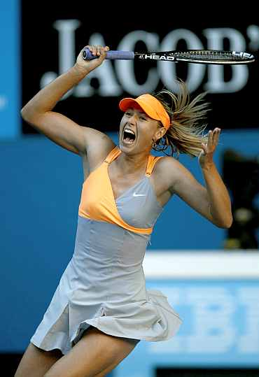 Maria Sharapova reacts during her match against Virginie Razzano at the Australian Open