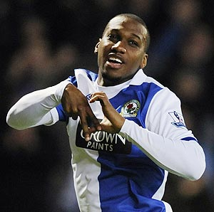 Blackburn Rovers' David Hoilett celebrates after scoring against West Bromwich Albion on Sunday