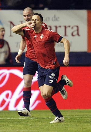 Osasuna's Javier Camunas celebrates after scoring against Real Madrid on Sunday