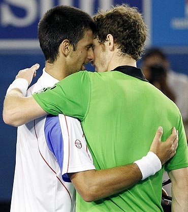 Novak Djokovic and Andy Murray embrace after the Australian Open final on Sunday