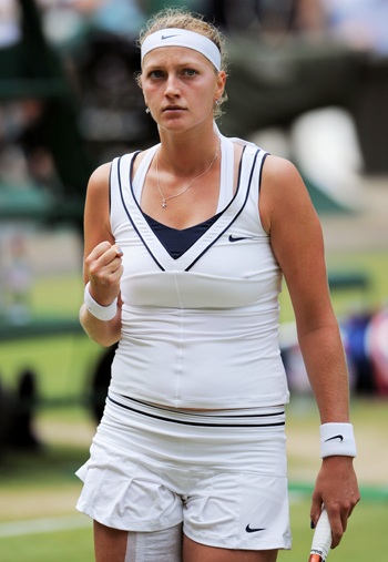 Petra Kvitova of the Czech Republic reacts during her Women's semifinal against Victoria Azarenka