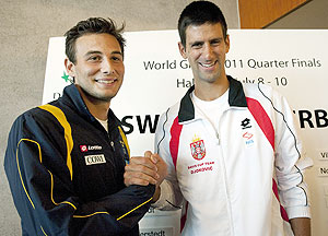 Sweden's Ervin Eleskovic (left) and Serbia's Novak Djokovic pose for a photograph in Halmstad