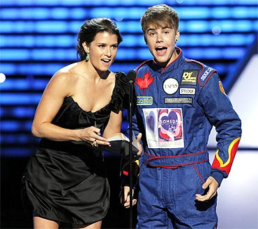 Danica Patrick and Justin Bieber