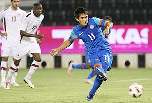 Sunil Chhetri scores against Qatar on Sunday