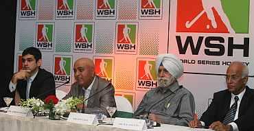 Yannick Colaco (COO Nimbus Sport), Harish Thawani (Executive Chairman, Nimbus Communications Ltd.), KPS Gill (Ex-President, IHF) and RK Shetty (President, IHF)