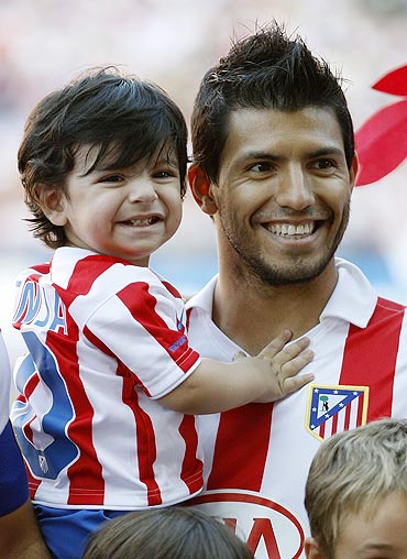 Sergio Aguero with son Benjamin