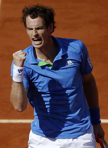 Andy Murray celebrates after winning his quarter-final match Juan Ignacio Chela