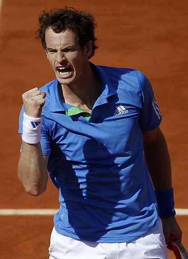 Andy Murray celebrates after winning his quarter-final match Juan Ignacio Chela
