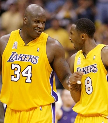 Shaquille O'Neal (left) with Kobe Bryant