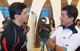 Prakash Padukone and Rudy Hartono at the NSCI in Mumbai on Monday