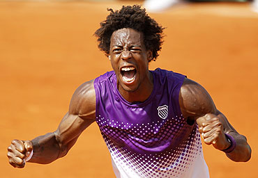 Gael Monfils reacts after defeating David Ferrer