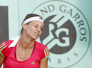 Maria Kirilenko of Russia reacts during her match against Andrea Petkovic of Germany