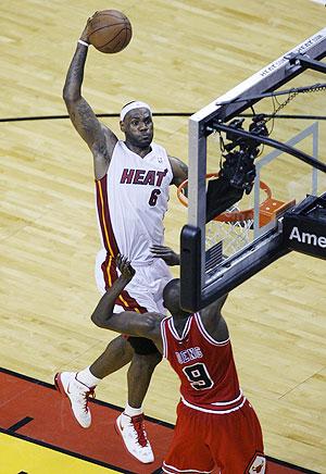 Miami Heat's LeBron James dunks