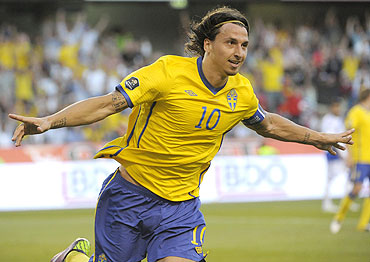 Sweden's Zlatan Ibrahimovic celebrates after scoring against Finland
