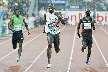Jamaica's Usain Bolt edges compatriot Mario Forsythe (left) and Norway's Jaysuma Saidy Ndure (right) to clinch the men's 200 metre event at the Diamond League's Bislett Games in Oslo on Thursday