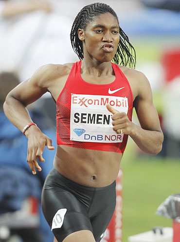 South Africa's Caster Semenya competes in the women's 800 metres event at the Diamond League's Bislett Games in Oslo on Thursday