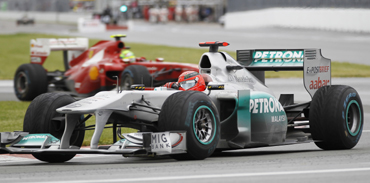 -Mercedes Formula One driver Michael Schumacher of Germany races during the Canadian F1 Grand Prix