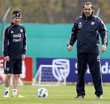 Lionel Messi and Sergio Batista