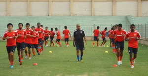 Indian footballers go through the grind during the senior national camp in New Delhi on Saturday