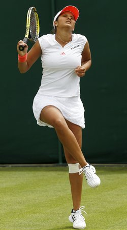 Sania Mirza in her first round match at Wimbledon on Tuesday