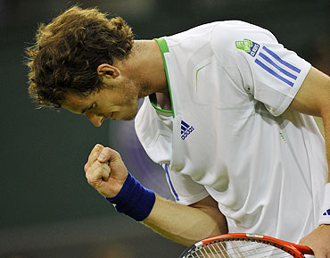 Andy Murray reacts during his match against Daniel Gimeno-Traver