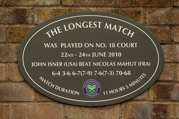 The plaque outside court 18 stating 'The Longest Match' , between  John Isner and Nicolas Mahut during Wimbledon 2010