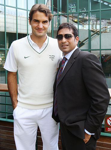 Roger Federer with Sachin Tendulkar