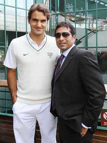 Roger Federer with Sachin Tendulkar