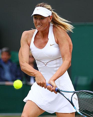 Maria Sharapova plays a return against Klara Zakopalova