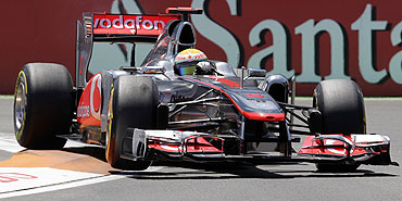 McLaren's Lewis Hamilton in action