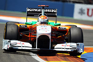 Adrian Sutil of Force India drives during the European Formula One Grand Prix at the Valencia Street Circuit on Sunday