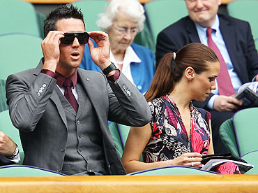Cricketer Kevin Pietersen and wife Jessica Taylor during the match between Serena Williams and Aravane Rezai