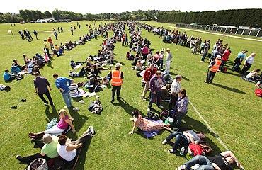 Fans outside Wimbledon